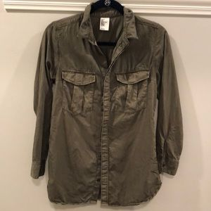 H&M Button Blouse size 4 Army Green